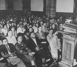 King, front row third from left, listens to a speaker during an assembly at Morehouse college, in Atlanta, Georgia, in 1948.