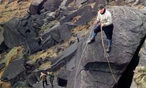A climber on Stanage Edge, Derbyshire, 1964.