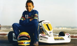 Lewis Hamilton, aged 10, ready for a drive at Kimbolton race track in England