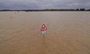 A submerged road in Bardney, Lincolnshire, which has had six months of rain in six weeks