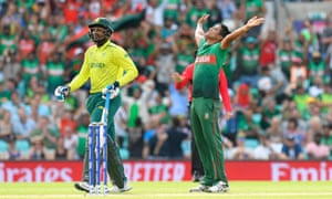 Mohammad Saifuddin of Bangladesh strikes the pose after taking the wicket of South Africa's Andile Phehlukwayo.