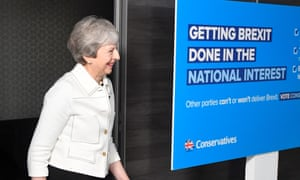 Theresa May arrives at a Conservative EU election campaign event in Bristol on Friday.