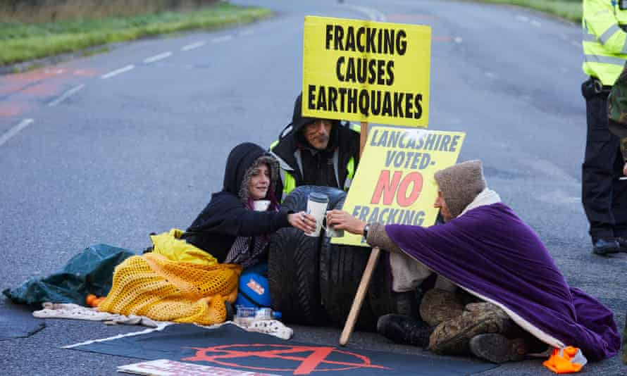 Protesters near Cuadrilla's Preston New Road well site, Lancashire, as the firm began fracking in October 2018.