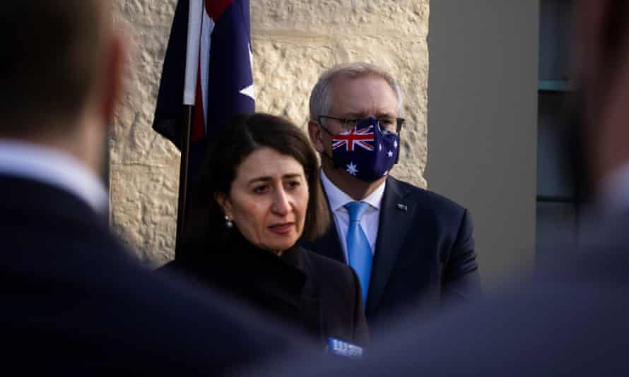 NSW premier Gladys Berejiklian and prime minister Scott Morrison at a press conference at Kirribilli House