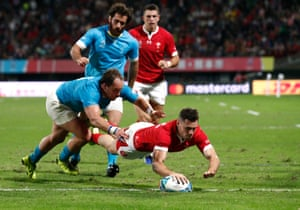 Wales' Tomos Williams scores their third try.