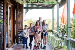 The Doye family outside Kombu Wholefoods in Bellingen