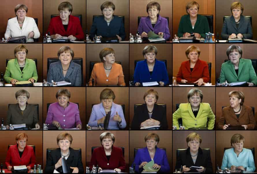 Angela Merkel leading cabinet meetings at the chancellery in Berlin.