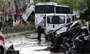 The scene of Tuesday's car bomb attack in Istanbul
