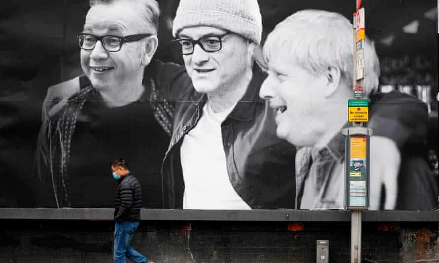 A poster in Kentish Town, north London, mocks Michael Gove, Dominic Cummings and Boris Johnson.
