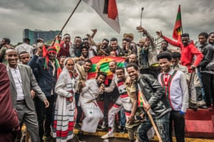 Supporters of the previously banned Oromo Liberation Front assemble on 15 September