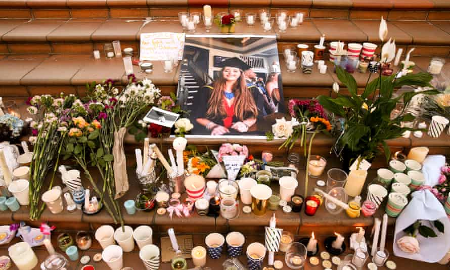 Tributes to the British backpacker Grace Millane in Wellington, New Zealand