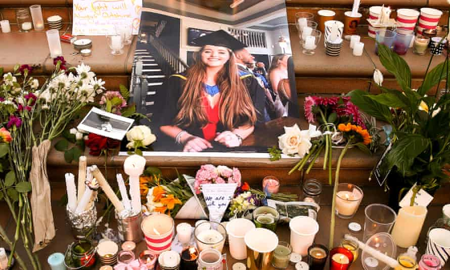 tribute to Grace Millane with flowers and candles