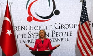 Hillary Clinton speaks after the opening session of the second 'Friends of Syria' conference at the Istanbul Congress Center on 1 April 2012, in Istanbul.