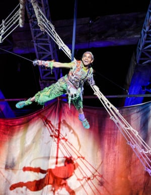 Hiran Abeysekera takes to the air as Peter Pan, in the 2015 adaptation of the JM Barrie children's favourite, which was given a first world war setting by directors Timothy Sheader and Liam Steel