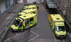 Ambulances wait outside accident and emergency department