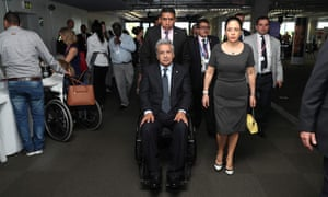 Lenin Moreno, the president of Ecuador, arrives in wheelchair, with his wife Rocio Gonzalez Navas to attend the 2018 Global Disability Summit in London