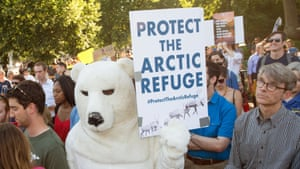 Protester dressed as a polar bear demonstrates in front of the White House. Nearly all the countries of the world signed the Paris agreement in 2015 with the goal of setting a limit to global warming in an effort to counter climate change