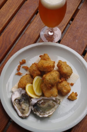Oyster and beer batter fritters