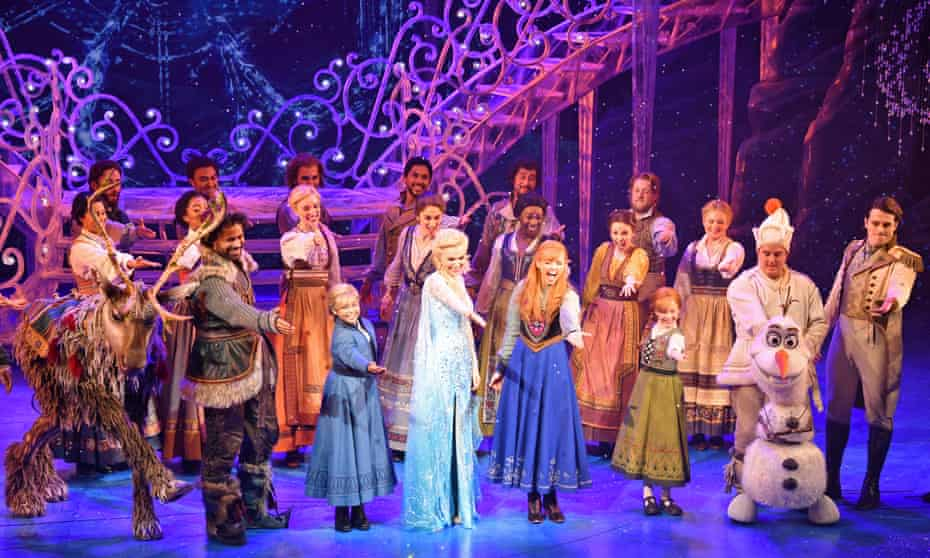 The cast of Frozen the Musical at the curtain call during the press night performance on 8 September 2021 in London