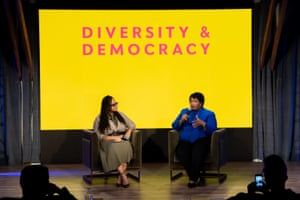Ava Duvernay and Stacey Abrams speak onstage at the National Day of Racial Healing at Array in Los Angeles, California.