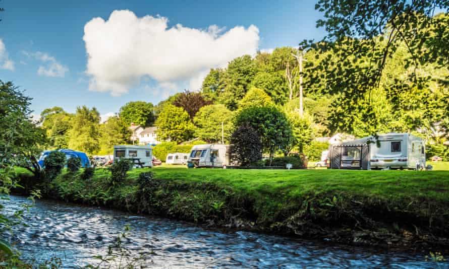 A small caravan site in Somerset.