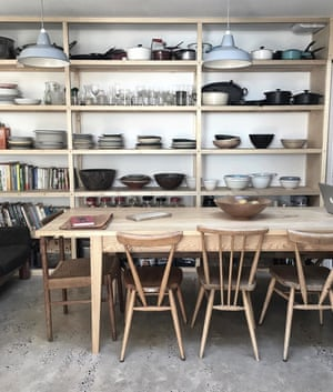 Floor-to-ceiling wooden shelving and a concrete floor, makes the River Cottage head chef Gill Meller's space eminently usable; @gill.meller