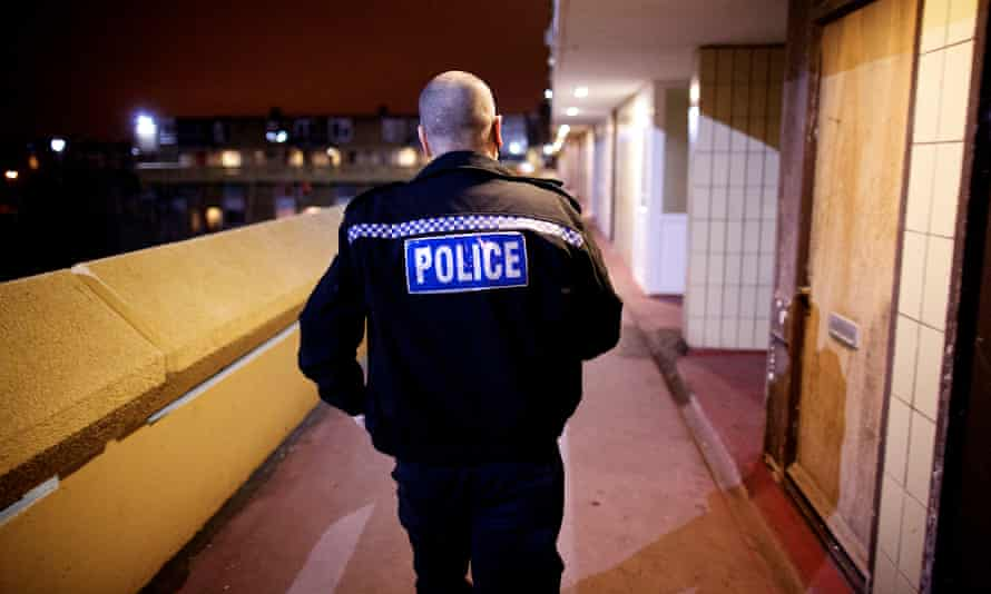 A domestic violence patrol police officer in Washington, Tyne and Wear.