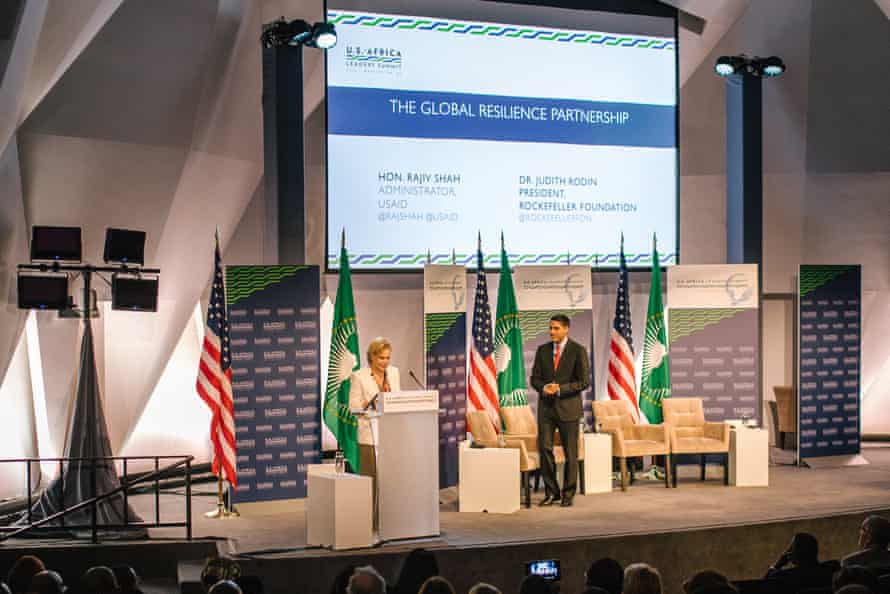 The Rockefeller Foundation president Judith Rodin with USAid's Rajiv Shah at a food security forum in 2014
