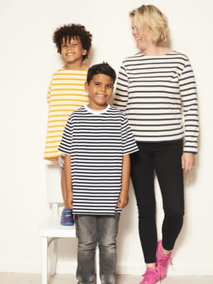 Sophie Bell-Carr, 42, Designer; Buster Bell-Carr, 9; and Huxley Bell-Carr, 6Yellow striped t-shirt, £35, navy striped t-shirt, £35, and black and white long sleeve t-shirt, £35