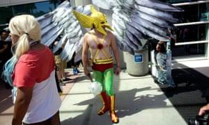 A fan dressed as the comic book superhero Hawkman