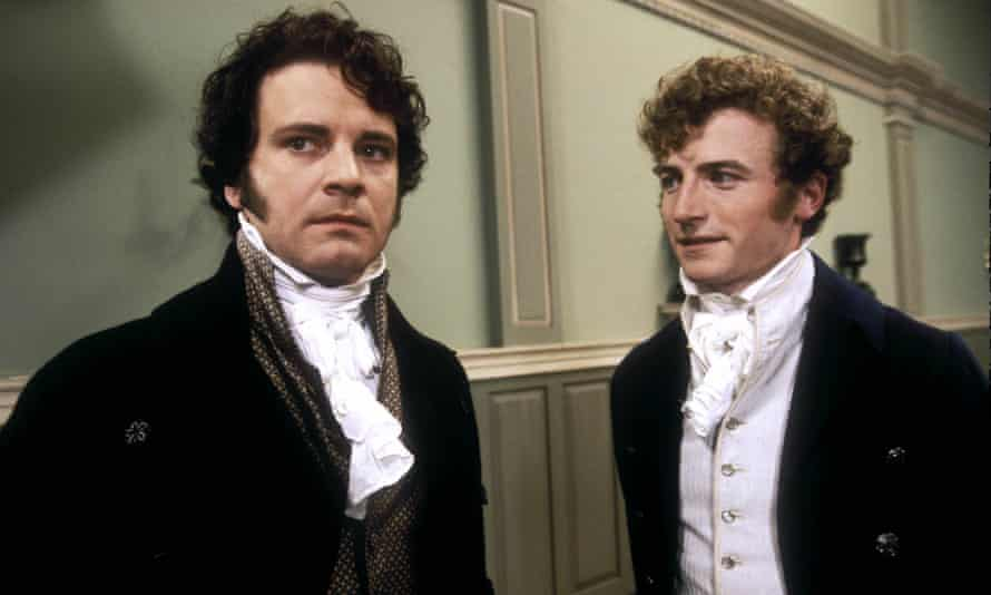 Stricken by social anxiety … Colin Firth (Mr Darcy) and Crispin Bonham-Carter (Mr Bingley).