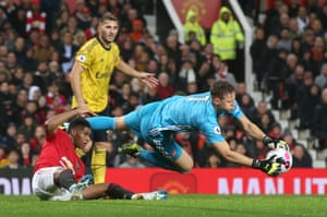 Bernd Leno of Arsenal keeps hold of the ball.