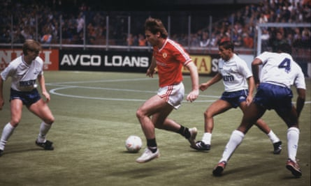 Brian McClair in action at the Soccer Six in Manchester.