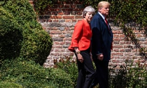 Theresa May at Chequers with Donald Trump, who has said that her latest Brexit plan would kill off any trade deal with the US.