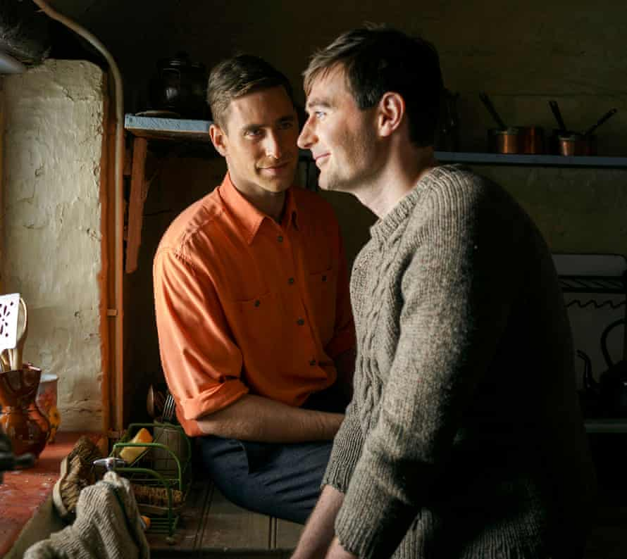 Intimacy … Oliver Jackson-Cohen and James McArdle in Man in an Orange Shirt