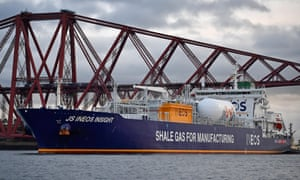 A tanker carrying shale gas from the US arrives in Grangemouth
