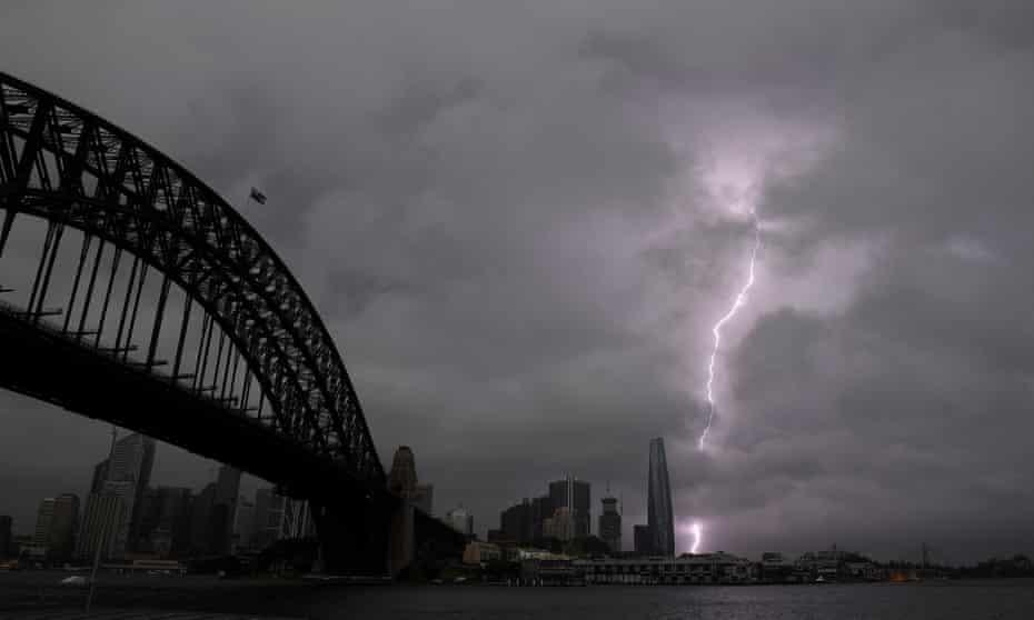 Lightning over Sydney Harbour on Thursday