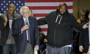 'The only person my logical beautiful black mind will allow me to vote for is Senator Bernie Sanders' … Killer Mike with the US Democratic presidential candidate in South Carolina.