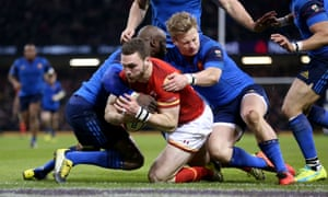 George North goes over for the first try of the game.