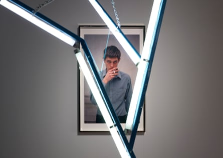A portrait of Ian Curtis on display at Manchester Art Gallery.
