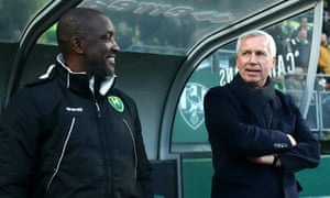 ADO Den Haag manager Alan Pardew (right) and his assistant coach, Chris Powell, will be relieved there is no relegation with their team currently in the bottom three.