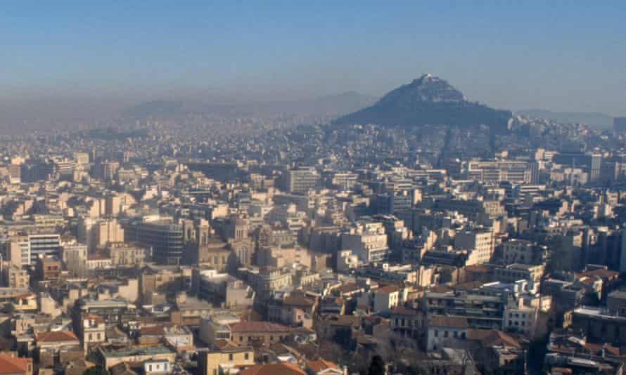 Smog settles over central Athens.