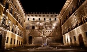 The entrance of Monte dei Paschi di Siena bank's headquarters in Siena.
