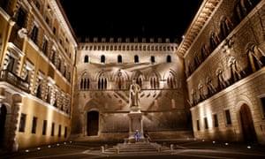 The entrance of Monte dei Paschi di Siena bank's headquarters.
