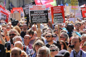 Anti Brexit protesters outside Downing Street in Whitehall during a protest against Brexit and the prorogation of parliament in London, Britain, 31 August 2019