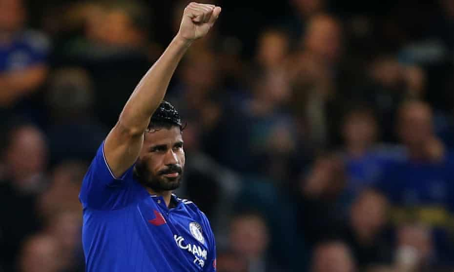 Diego Costa celebrates after scoring for Chelsea during their Champions League win against Maccabi.