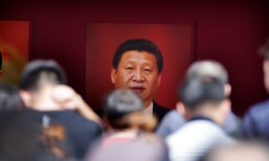 A picture of Chinese President Xi Jinping during an exhibition on China's achievements marking the 70th anniversary of its founding at the Beijing Exhibition Centre