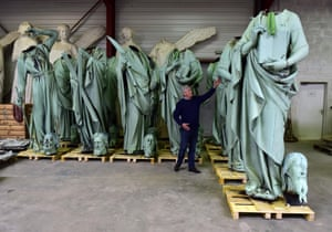 A number of statues that sat around the steeple were removed earlier in the month to be sent to south-west France for restoration