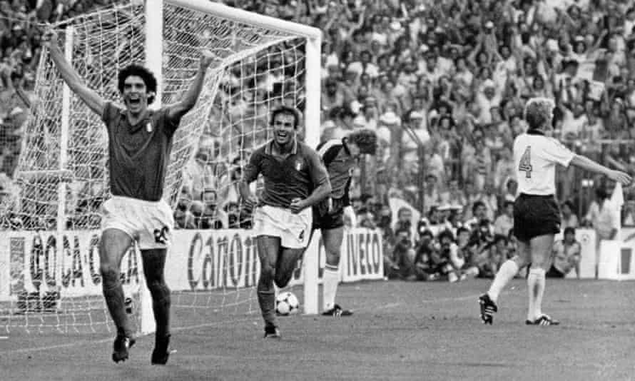 Paolo Rossi, left, celebrates after scoring the opening goal in Italy's World Cup final victory over West Germany on 11 July 1982.