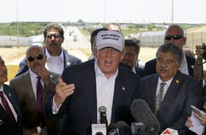 Donald Trump gestures at a news conference near the U.S.- Mexico border outside of Laredo, Texas.